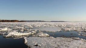 Gelo para flutuar o rio video estoque