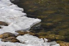 Gelo que derrete no beira-rio fotografia de stock