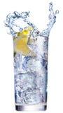 Gelo que espirra no copo de água Fotos de Stock
