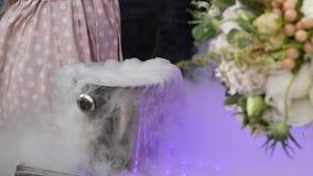 Gelo seco em um balde para o gelo Pirâmide de Champagne para partidos com cerejas Movimento lento vídeos de arquivo