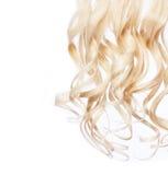 Gelocktes blondes Haar über weißem Hintergrund Stockfotografie