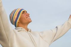 Geloof, gelukkige glimlachende tiener Royalty-vrije Stock Foto's