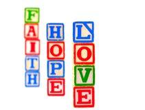 Geloof, Hoop, Verticaal 1 van de Blokken van de Brief van de Liefde Stock Afbeeldingen