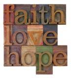 Geloof, liefde en hoop royalty-vrije stock afbeelding