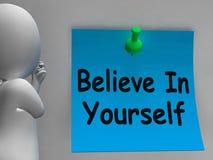 Geloof in zich de Nota Zelfgeloof toont Stock Fotografie