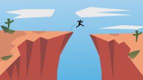 Geloof in zich en durf te zijn zelf Neem Risico in het Leven en Beweging voor Uw Doelstellingen De Springende Man is een Concept  stock illustratie