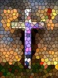 Geloofssymbool. Gebrandschilderd glaskruis. Stock Fotografie