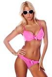 Gelooide blond in bikini Stock Foto's