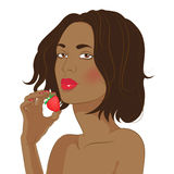 Gelooide brunette met een aardbei vector illustratie