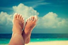 Gelooide voeten met pedicure Royalty-vrije Stock Foto