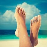 Gelooide voeten met pedicure Royalty-vrije Stock Foto's