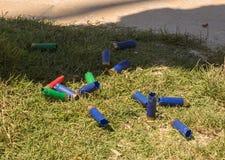 Geloste gebruikte kanonpatronen in Majorca stock fotografie