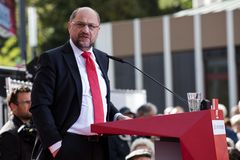 Martin Schulz, German Politician. Gelsenkirchen, Germany. 20 September 2017. Martin Schulz, leader of the SPD Social Democratic Party giving a speech during the royalty free stock photo
