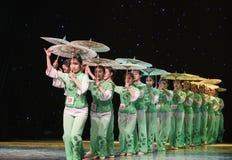Gelsomino nella danza popolare di pittura-cinese del lavaggio e dell'inchiostro Immagini Stock