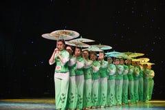 Gelsomino nella danza popolare di pittura-cinese del lavaggio e dell'inchiostro Fotografie Stock