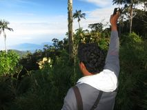 Geluid afspelen in El Dorado Bird Reserve, Santa Marta; Tape pla stock image