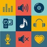 Geluid en Muziek geplaatste Vectoren Royalty-vrije Stock Afbeelding