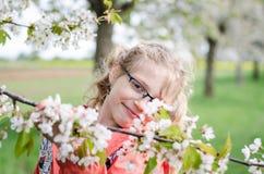 Geluk in de lente in tuinhoogtepunt van tot bloei komende bloemen Stock Foto