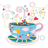 Geluk in een Kop van Koffie Stock Afbeeldingen