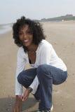 Geluk op het strand stock fotografie
