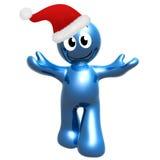 Gelukkig 3d pictogram dat de hoed van de Kerstman draagt Stock Afbeeldingen