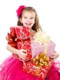 Gelukkig aanbiddelijk meisje met de dozen van de Kerstmisgift Royalty-vrije Stock Afbeelding