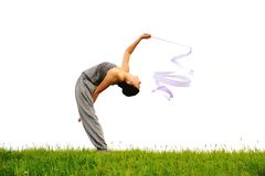 Gelukkig acrobatisch meisje Royalty-vrije Stock Afbeelding