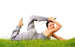 Gelukkig acrobatisch meisje royalty-vrije stock fotografie