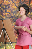 Gelukkig Autumn Artist Stock Foto's