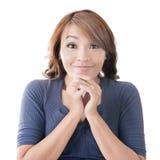 Gelukkig Aziatisch meisjesgezicht Stock Foto