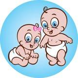 Gelukkig babyjongen en meisje royalty-vrije illustratie