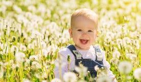 Gelukkig babymeisje op weide met witte bloemen Stock Afbeelding