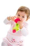 Gelukkig babytandjes krijgen Stock Foto