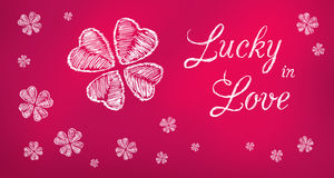 Gelukkig in banner van de Liefde de purpere groet stock afbeeldingen