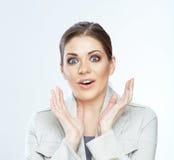 Gelukkig bedrijfsvrouwenportret op wit Royalty-vrije Stock Foto