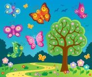 Gelukkig beeld 6 van het vlindersthema Stock Afbeeldingen