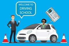 Gelukkig beeldverhaal Afrikaans Amerikaans wijfje die in witte drijfschoolauto situeren openlucht stock illustratie