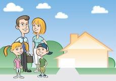 Gelukkig beeldverhaalfamilie en huis Stock Afbeeldingen