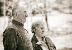 Gelukkig bejaard paar stock foto's