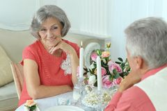 Gelukkig bejaard paar die diner hebben Royalty-vrije Stock Foto's