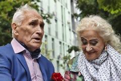 Gelukkig bejaard paar, gang in het park, Blije glimlachen, liefde, stock fotografie