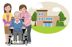Gelukkig bejaarde in rolstoel met zijn familie en verpleegster Royalty-vrije Stock Foto