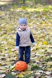 Gelukkig bevindt weinig jongen zich in GLB en vest met Halloween-pompoen die door gevallen bladeren wordt omringd stock foto
