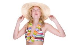 Gelukkig bikinimeisje met lei stock fotografie