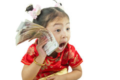 Gelukkig Chinees nieuw jaar Leuk Aziatisch Meisje in Traditie Chinees Stock Foto
