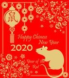 Gelukkig Chinees Nieuwjaar 2020 jaar van de rode kaart van de ratten decoratieve groet met grappige gouden rat, bloemenpatroon, h stock illustratie