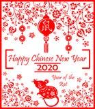 Gelukkig Chinees Nieuwjaar 2020 jaar van de witte rat die gouden kaart begroeten Dierenriemteken voor groeten royalty-vrije illustratie