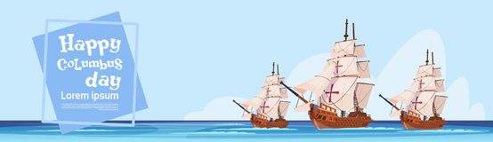Gelukkig Columbus Day Ship In Ocean op de Groetkaart van de Vakantieaffiche Royalty-vrije Stock Foto