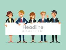 Gelukkig commercieel team met een geïsoleerde banner Stock Foto's