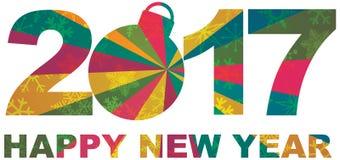 2017 gelukkig de Aantallenoverzicht van Nieuwjaarsneeuwvlokken Royalty-vrije Stock Afbeelding